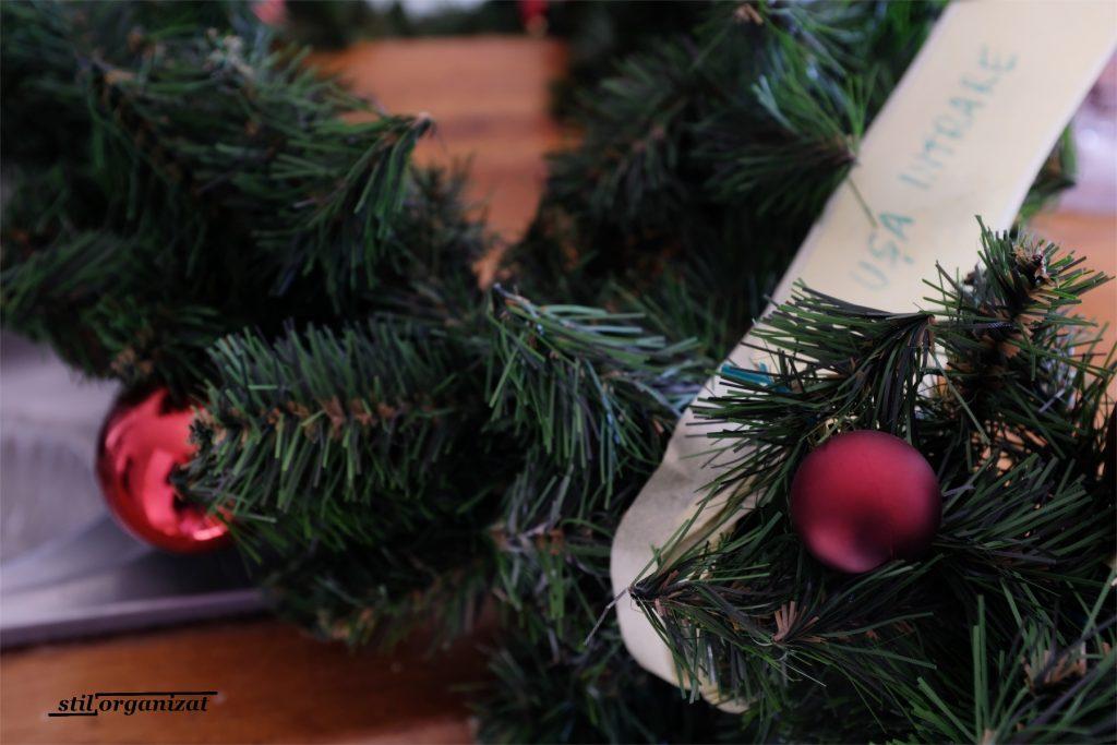 organiarea decoratiunilor de iarna -etichetare ghirlanda