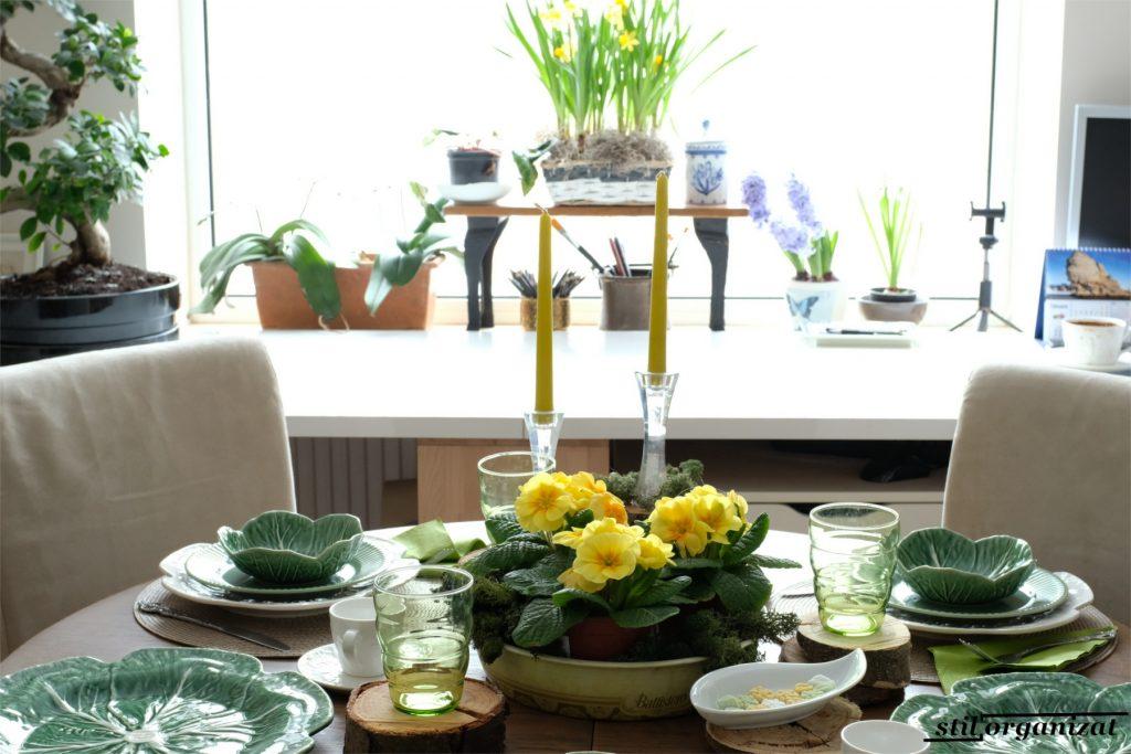 flori de primavara pe masa si la fereastra