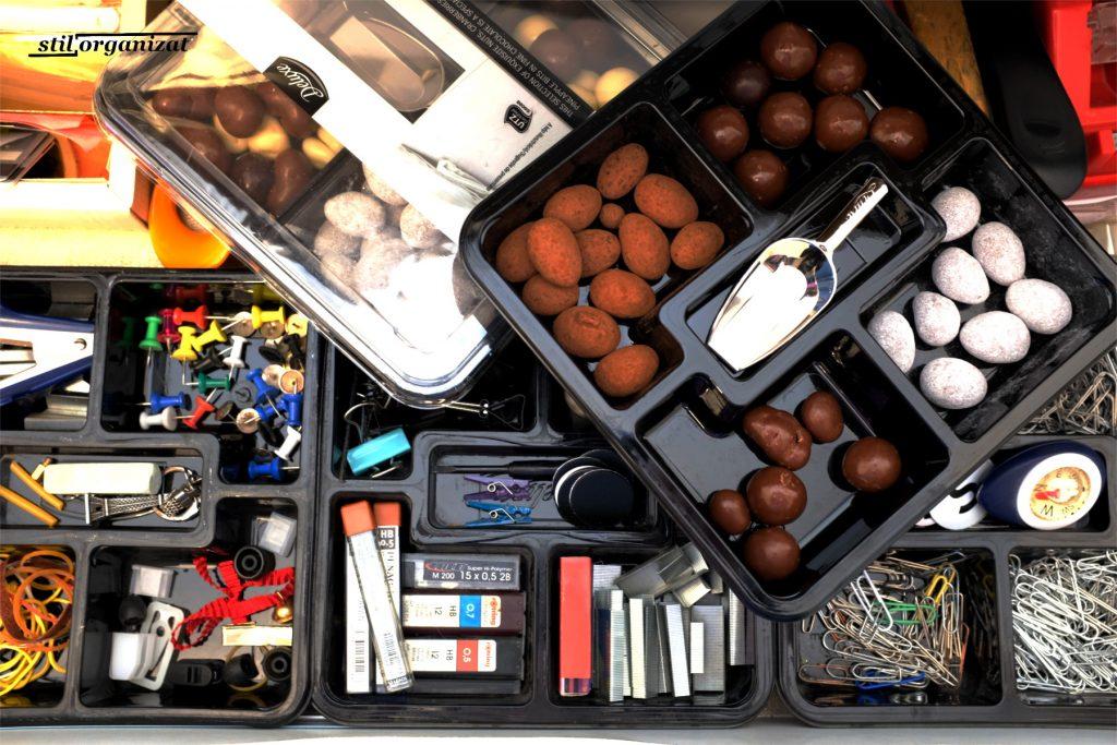 organizare cu cutii de bomboane